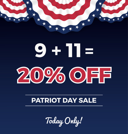 the day off: Patriot day sale promotion web banner. 20 percent off Vector illustration
