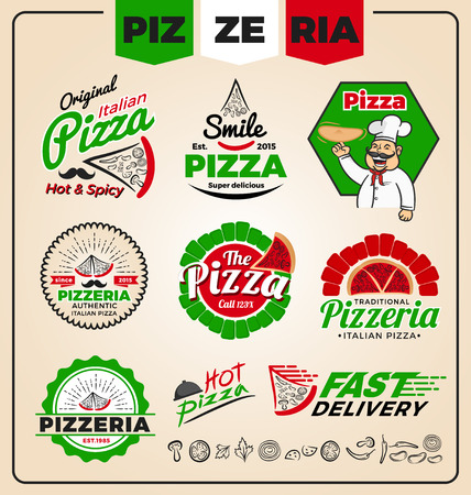 Set of pizzeria logo template design. Pizza labels and frames, Vector illustration