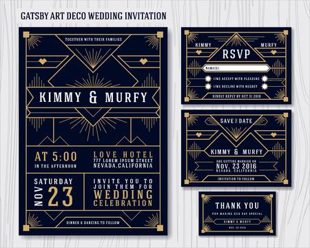 Gran invitación de la boda Gatsby art déco plantilla de diseño. Incluye tarjeta de RSVP, ahorra la tarjeta de fecha, gracias las etiquetas. Ilustración clásica del vector del marco superior del estilo del vintage. Foto de archivo - 44833720