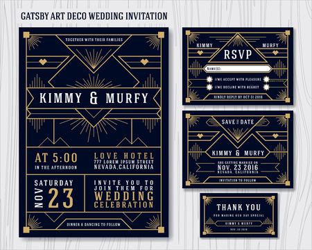 include: Great Gatsby Art Deco Wedding Invitation Design Template. Include RSVP card, Save the date card, thank you tags. Classic Premium Vintage Style Frame Vector illustration.