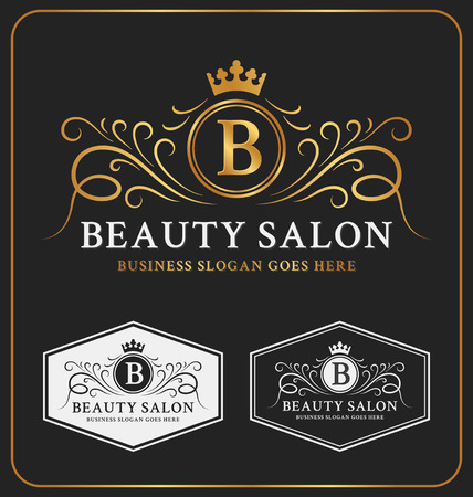 crests: Beauty Salon Heraldic Crest Logo Template Design. Flourish line monogram logotype. Vector illustration