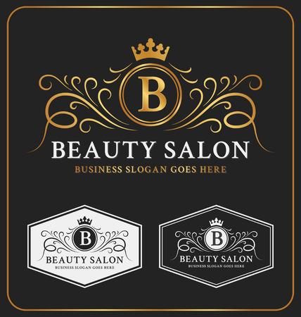 insignia: Salón de belleza Heráldico Crest Logo Design Template. Flourish logotipo del monograma de la línea. Ilustración vectorial Vectores