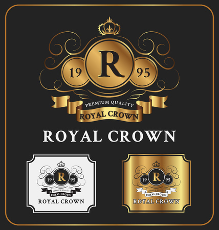 insignias: Diseño Plantilla heráldico logotipo de la cresta. Retro Vintage Royal Luxury crestas elegantes con el monograma. Adecuado para las empresas y nombres de productos, la industria de lujo como el Hotel, Boda, Inmobiliaria, restaurante