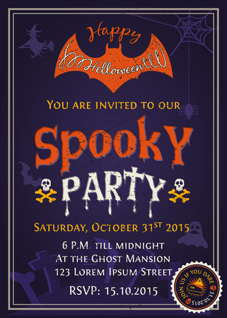 Spooky Halloween Party invitation card design with scary typography on purple tone background. Vector illustration