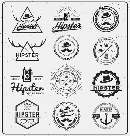 Set of hipster insignia logo design for logo, T-shirt, apparel, stamp, printing, label, tags and other design. Vector illustration Çizim
