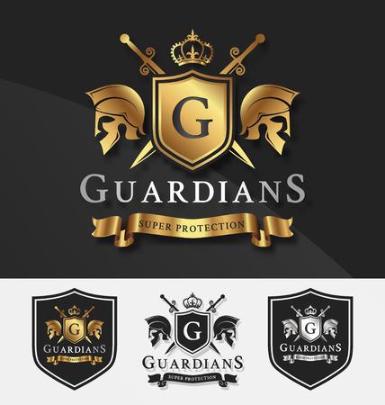 insignias: Escudo y dos guardianes con la cruz plantilla cresta caballero de Protección, Victoria, Lucha, el concepto de seguridad. Ilustración vectorial