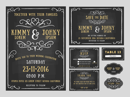 Wedding invitation chalkboard design with flourishes line. include Invitation card, Save the date, RSVP card, Thank you card, Table number, Gift tags, Place cards, Respond card. Vector illustration Vettoriali