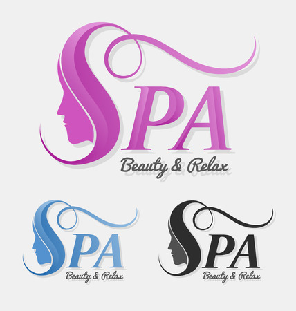 spa salon: Beautiful silhouette female face behind letter S  design. Suitable for spa, massage, salon, cosmetic and beauty concept with letter s. Vector illustration