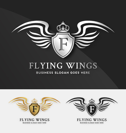 Shield and Wings template. suitable for automotive brand,  Elegant, Fashionable, Vectores