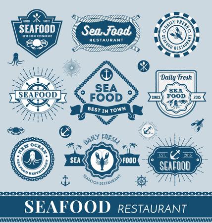 mariscos: Conjunto de diseño de restaurante de mariscos de la bandera. Ilustración vectorial