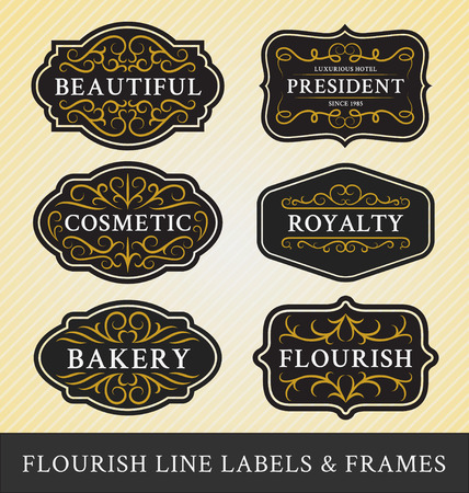Set of flourish calligraphy frames and labels design for business and product such as real  estate, hotel,salon,bakery,cosmetic, jewelry, resort, wedding, beer, whiskey, food menu. Vector illustration