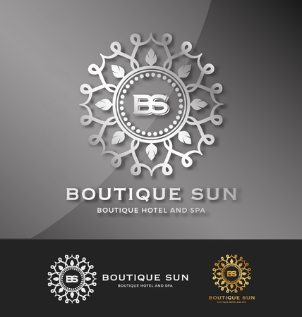 and real estate: Boutique hotel and spa logo design with abstract lotus and the sun shine as frame logo. Logo designs for all creative business. Elegant, Fashionable, Modern, unique and professional logo templates. Illustration