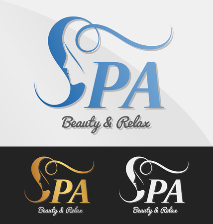 Beautiful female face in negative space on letter S logo design. Suitable for spa, massage, salon, cosmetic and beauty concept with letter s. Vector illustration Çizim