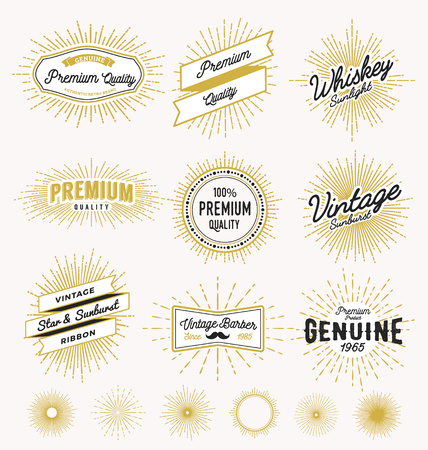 ray of light: Set of vintage sunburst frame and label design. Vintage light ray sticker and banner collection for premium quality product, handcrafted product. Vector illustration