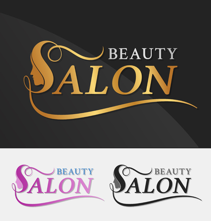 beautiful hair: Beauty salon logo design with female face in negative space on letter S. Suitable for beauty salon, spa, massage, cosmetic and beauty concept with letter s. Vector illustration