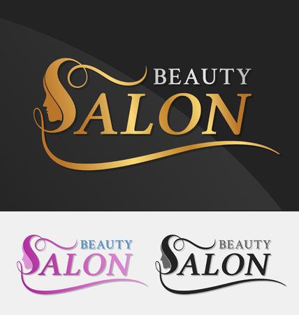 美女: 美容院標誌設計與女性的臉負空間的字母S適用於美容美髮,水療,按摩,美容和美容理念與字母s。矢量插圖 向量圖像