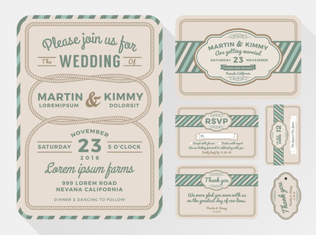a charming: Wedding invitation sets for your lovely and friendly celebration design with rope looped. include save the date, respond card, thank you card, Place card and gift tags. Vector illustration
