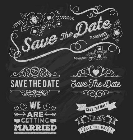 Set of save the date typography, frame and ribbon chalk style. Save the date frame and element on chalkboard design. Vector illustration Stock Illustratie