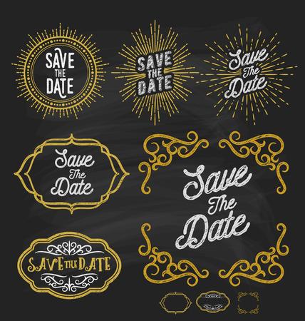 the corner: Save the date frame border chalkboard style. Vintage sunburst and flourish line corner frame. for wedding decoration and invitation card. Vector illustration