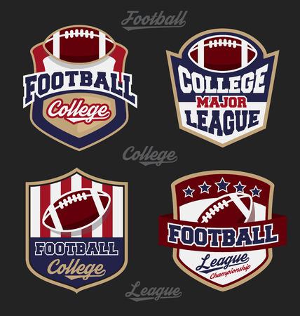 campeonato de futbol: Conjunto de la universidad de fútbol insignia insignia de la liga, con cuatro diseño de color. Adecuado para el diseño de prendas de vestir la camiseta. Ilustración vectorial