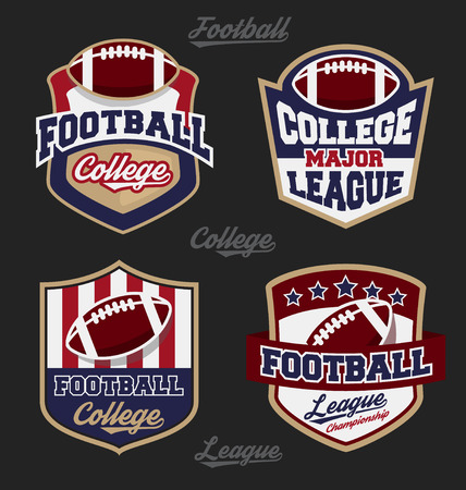 Set of football college league badge logo with four color design. Suitable for T-shirt apparel design. Vector illustration