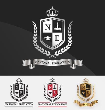 Образование: Щит и венок лавровый с короной гребень дизайн логотипа. Подходит для студенческой академии, учебный центр, недвижимость, отель, курорт, официальных и обслуживания. Векторная иллюстрация Иллюстрация