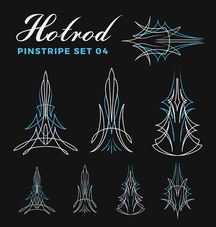 hot: Set of vintage pin striping line art. include un-expand path. use for vinyl sticker, painting template, tattoo. Vector illustration