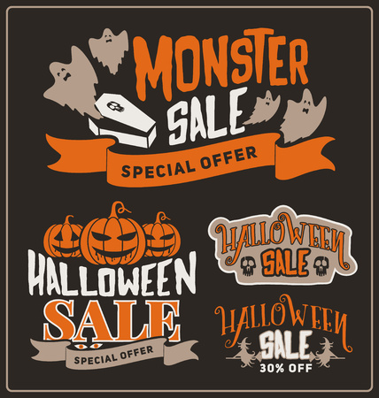 Set of Halloween sale promotion badges and labels design for product, web and promote marketing concept. Discount promotion label for Halloween season. Vector illustration