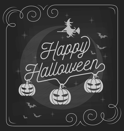 flying bats: Happy Halloween typography on chalkboard design with pumpkins, flying bats, witch. For poster, greeting card, background, banner. Vector illustration Illustration
