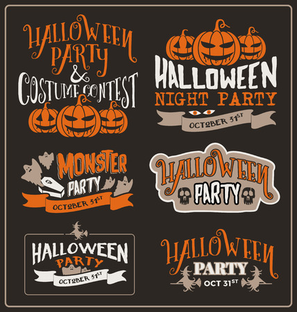 halloween: Set of Halloween typographic design for party, costume contest, night party, spooky party. poster. Vector illustration