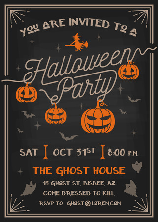 tarjeta de invitacion: Tarjeta de la invitaci�n del fiesta de Halloween de la tipograf�a con el dise�o de calabazas de miedo. Ilustraci�n vectorial