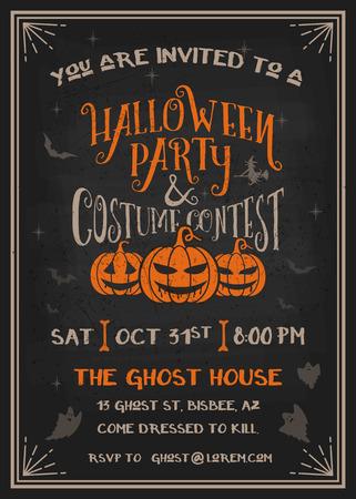 Tipografía fiesta de Halloween y tarjeta de invitación concurso de disfraces con el diseño de calabazas de miedo. Grunge textura fácil de quitar. Ilustración vectorial Foto de archivo - 45861756