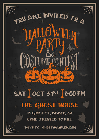 Typography Halloween Party and costume contest Invitation card with scary pumpkins design. Grunge texture easy to remove. Vector illustration