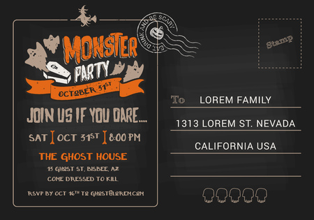 respond: Halloween Monster Party postcard invitation template. Halloween RSVP card background. Vector illustration