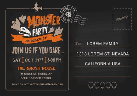 postcard background: Halloween Monster Party postcard invitation template. Halloween RSVP card background. Vector illustration