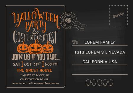 brujas caricatura: Fiesta de Halloween y Concurso de Disfraces Plantilla de la invitaci�n tarjeta postal. Tarjeta de RSVP de Halloween fondo oscuro. Ilustraci�n vectorial Vectores
