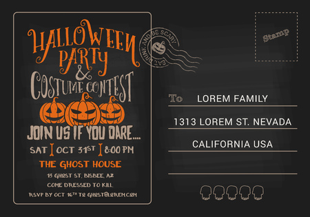 ghoul: Halloween Party and Costume Contest Postcard Invitation Template. Halloween RSVP card dark background. Vector illustration