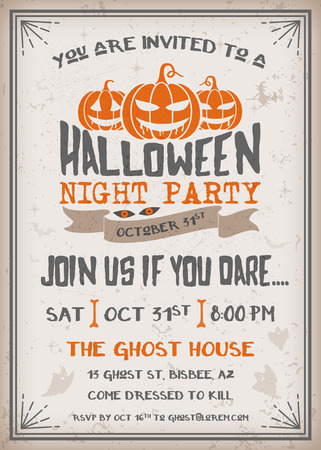 respond: Halloween Night Party Invitation with scary pumpkins design. Grunge texture easy to remove. Vintage Background Vector Illustration Illustration