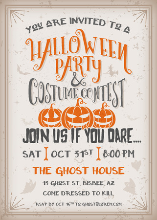 halloween: Halloween party and costume contest Invitation with scary pumpkins design. Grunge texture easy to remove. Vintage Background Vector Illustration