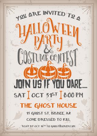 fiesta: Invitaci�n de la fiesta y el concurso de disfraces de Halloween con dise�o de calabazas de miedo. Grunge textura f�cil de quitar. Fondo De La Vendimia ilustraci�n vectorial