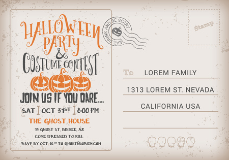 respond: Halloween Party and Costume Contest Invitation Template. Halloween RSVP card vintage background. Vector illustration
