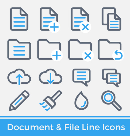 edit icon: Set of File and Directory Management Thick and Thin Line Icons Design. Modern Line icons and Symbols for mobile application, web interface. Vector illustration
