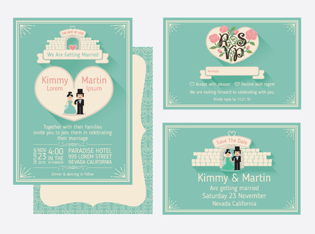 couple date: Wedding Invitation Design With The Gate Of Love And The Walls. Save the date and RSVP card template design. vector illustration
