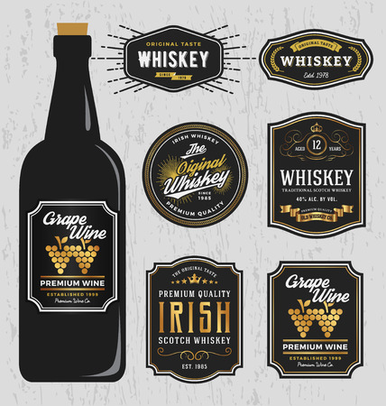 wine label: Vintage Premium Whiskey Brands Label Design Template, Resize able and free font used. Vector illustration Illustration