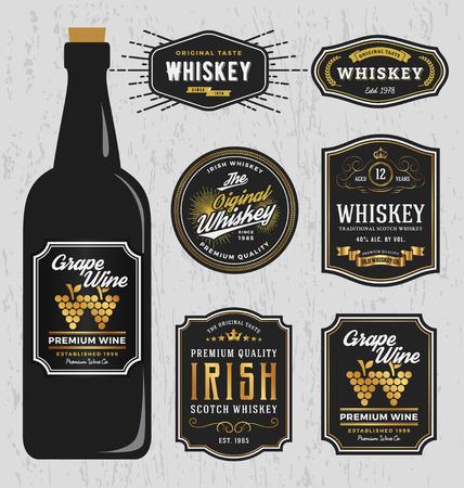 whisky: Vintage whisky premium Marques Étiquette modèle de conception, Redimensionner police capable et libre utilisé. Vector illustration