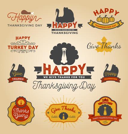 caes: Conjunto de etiquetas del D�a de Acci�n de Gracias. Etiqueta engomada feliz D�a de Acci�n de Gracias. Ilustraci�n vectorial