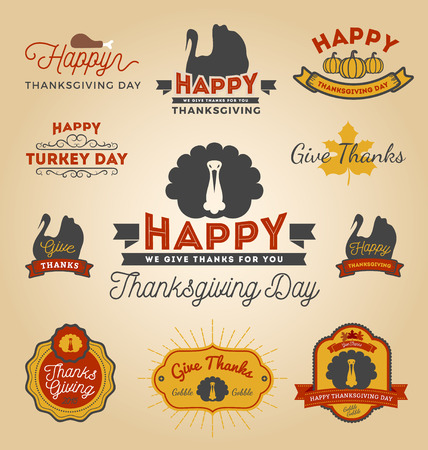 Set of Thanksgiving Day Labels. Happy Thanksgiving Day Sticker. Vector illustration