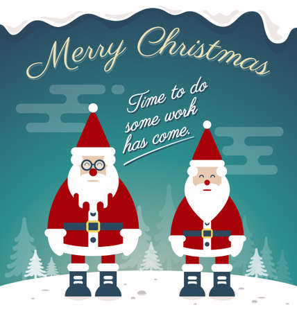 prompt: Merry Christmas Greeting Card Design. Two Santa Claus Prompt To Do Their Job. Snow and  Christmas Tree Background. Vector Illustration