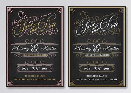 Vintage Chalkboard Save The Date Wedding Invitation Template