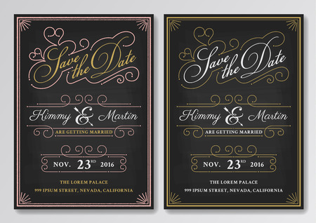 Vintage chalkboard save the date wedding invitation template. Easy to edit. Vector illustration